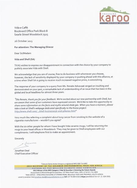 Letter to Vida management